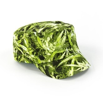 Military Cap Cannabis Print