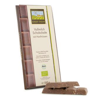 Chocolate con leche orgánico con nueces de cáñamo
