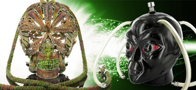 Cráneo Con Incrustaciones De Oro De Scott Deppe & Bong Cabeza De Alien