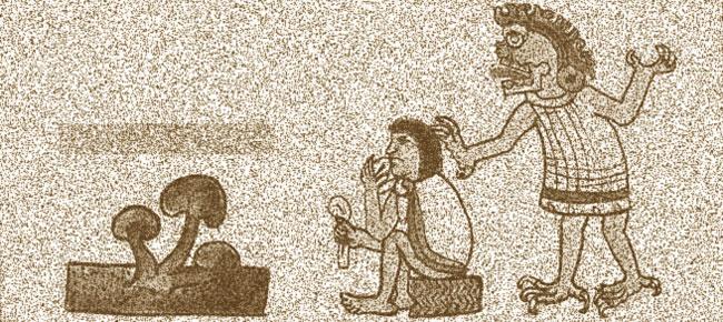 Azteca comiendo setas alucinógenas